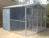 Two Bay Fully Galvanised Outdoor Kennel - 10ft x 8ft